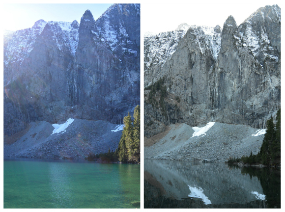 View of Lake Serene before and after the sun went down