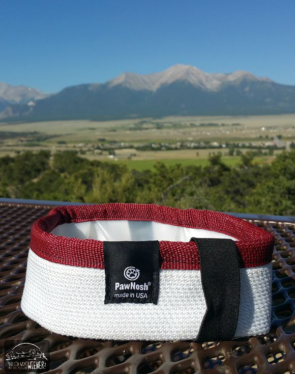PawNosh Firehose Travel Bowl with the Collegiate Peaks in the background