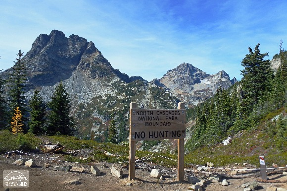 Northj Cascades National Park Boundary Sign at Dog Friendly Heather Pass