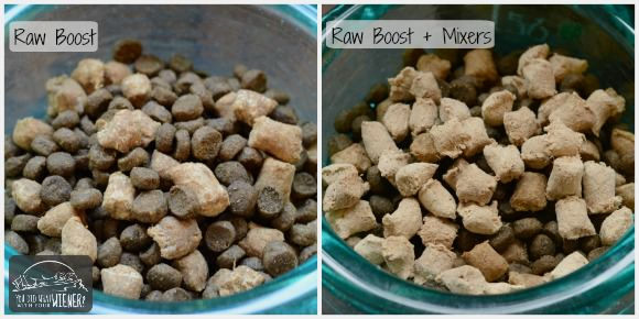 Nature's Variety Instinct Raw Boost Kibble and the Raw Boost kibble with Raw Boost Mixers added on top.
