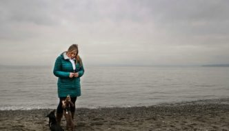 Woman with Dachshunds at Richmond Beach Park