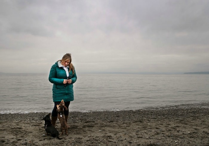 Woman with her Dachshunds at Richmond Beach Park - Julie Austin Pet Photography