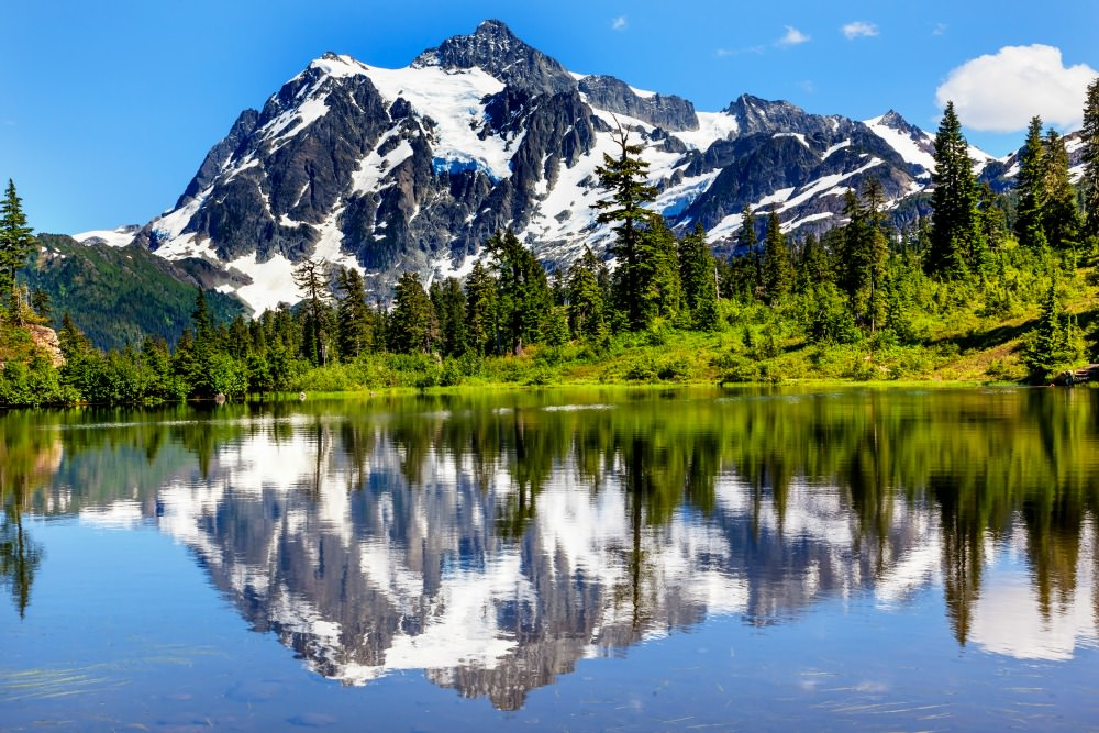Mount Shuksan reflection in picture lake