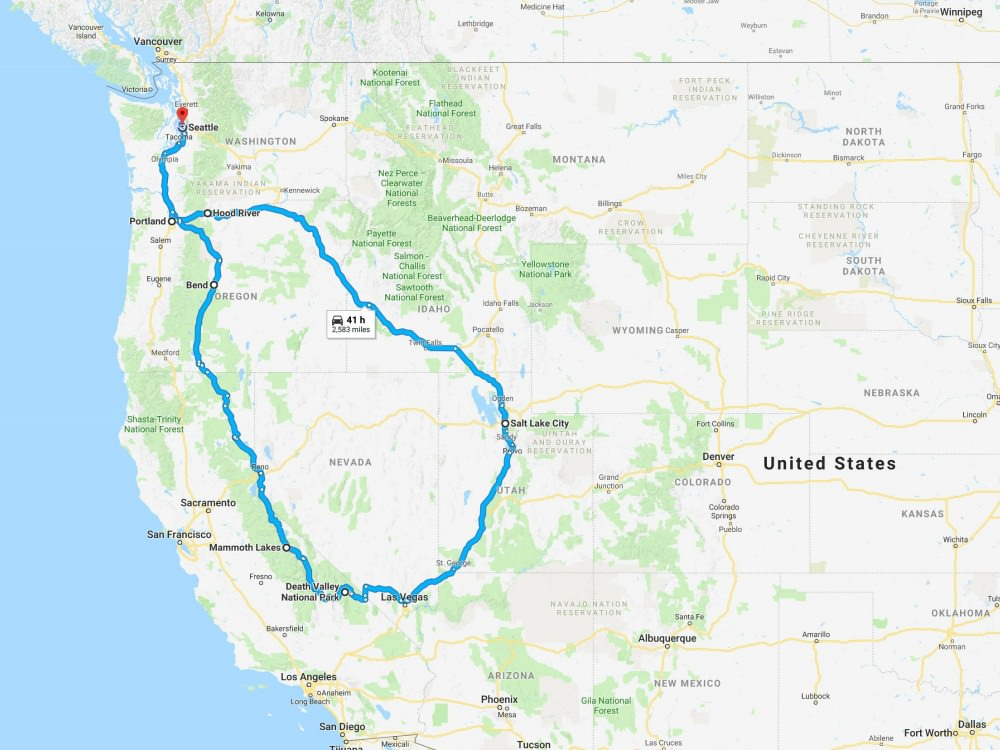 Map of a dog friendly road trip itinerary