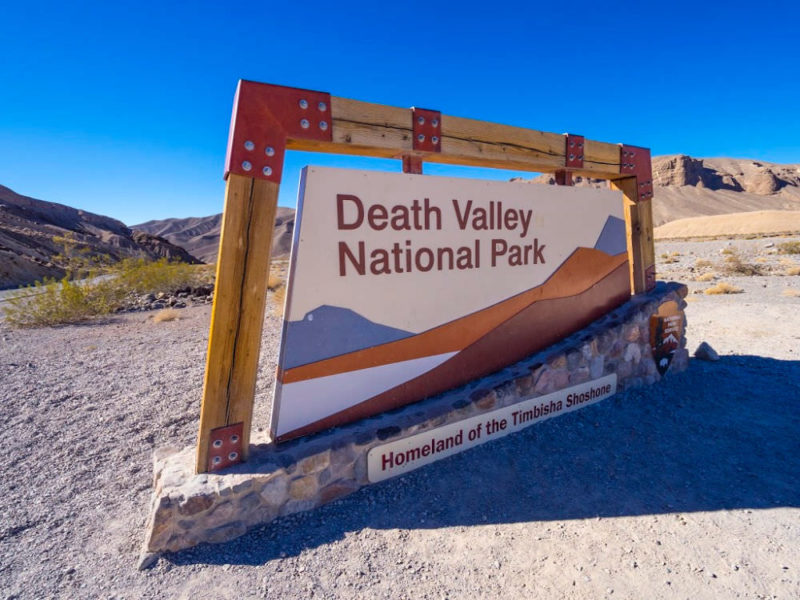 Entrance sign to Death Valley National Park